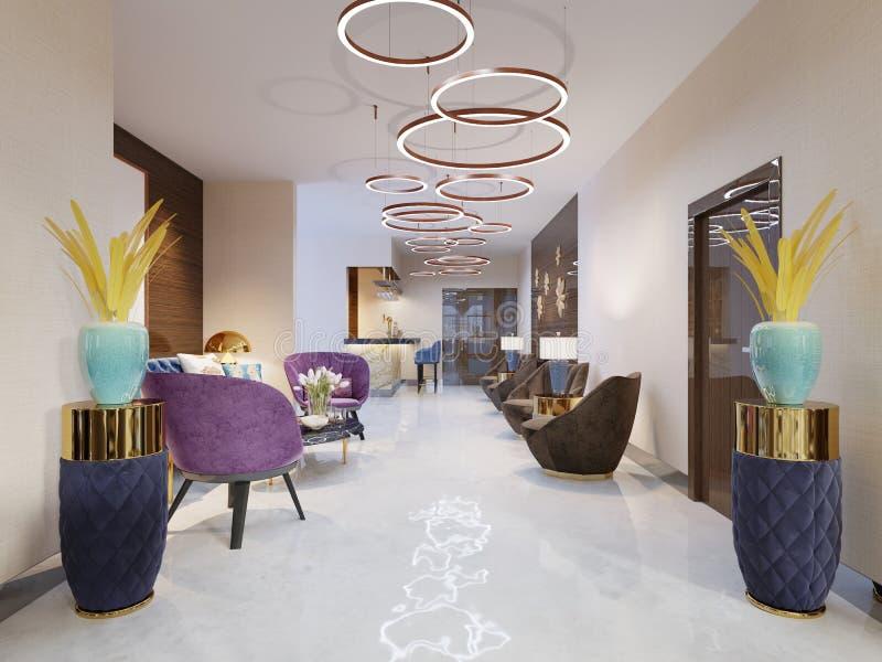 Vara slö område av ett hotell, klubban, företagslobby Fragment av den moderna lobbyen av hotellet för fem stjärnor stock illustrationer