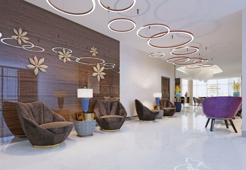Vara slö område av ett hotell, klubban, företagslobby Fragment av den moderna lobbyen av hotellet för fem stjärnor royaltyfri illustrationer