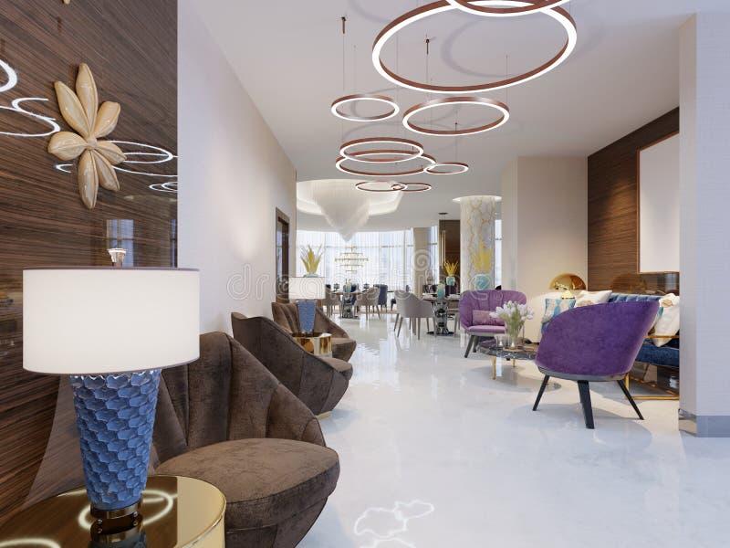 Vara slö område av ett hotell, klubban, företagslobby Fragment av den moderna lobbyen av hotellet för fem stjärnor vektor illustrationer