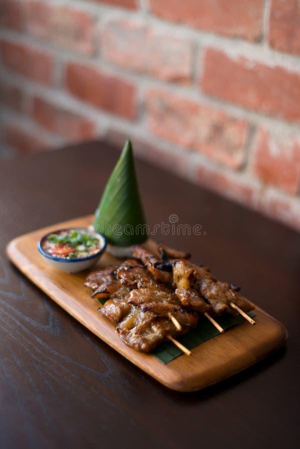Vara tailandesa da carne de porco da grade fotografia de stock