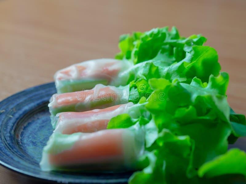 Vara vegetal hidropônica do caranguejo do rolo da salada fotos de stock royalty free