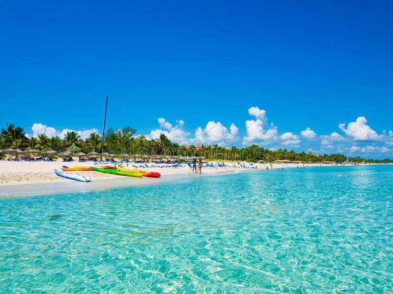 Varadero beach in Cuba photographed from the sea royalty free stock images