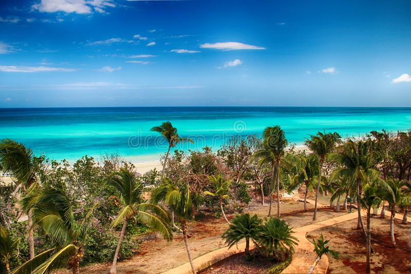 Varadero beach with tyrquis sea and ocean. There is a lot of green palms. Blue sky is in the background. It is beautiful natural. Bachground. There is summer stock images