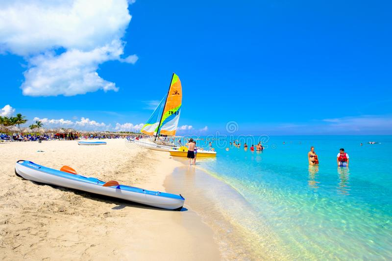 The beautiful beach of Varadero in Cuba on a sunny summer day royalty free stock photos