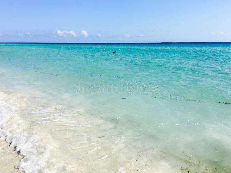 Varadero beach in daylight. Varadero, Cuba beach front during the day, with hues of blue and turquoise stock image