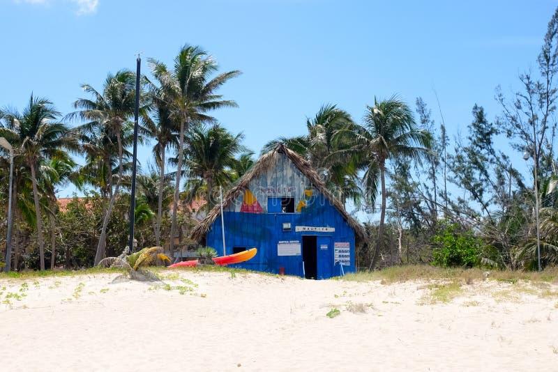 Varadero, Cuba - 26/03/2018: Blue old hut on the beach royalty free stock photos