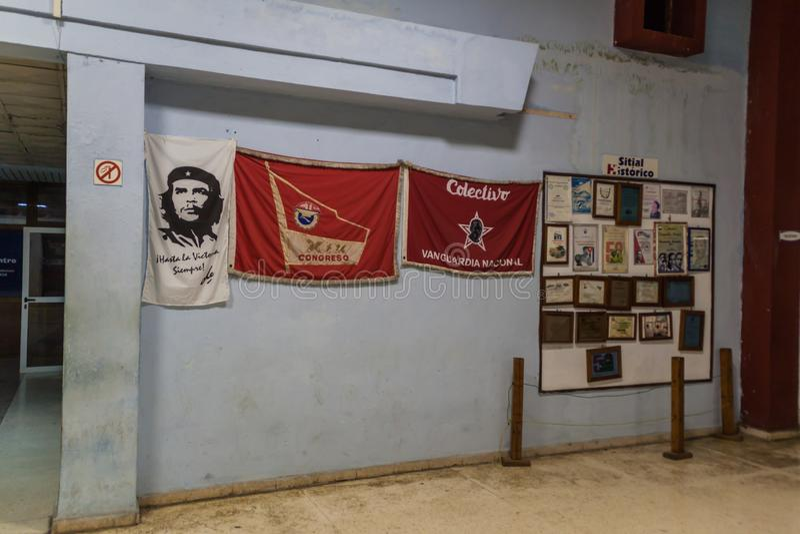 VARADERO, CUBA - JAN 24, 2016: Propaganda posters at the bus terminal building in Varadero, Cub stock images