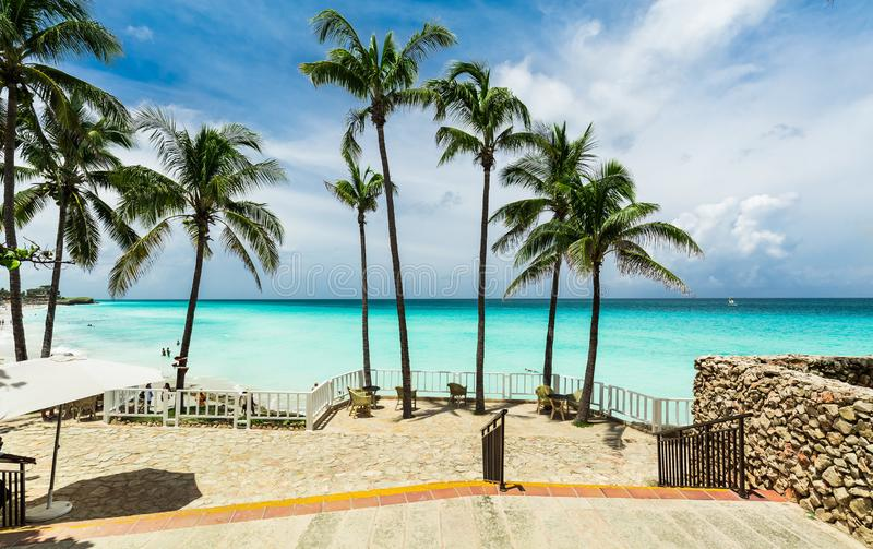 Natural landscape view at Melia Varadero beach, tranquil turquoise ocean with people swimming relaxing, and enjoying their time. Varadero, Cuba, Melia Varadero stock images