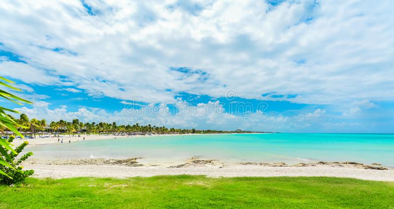 Gorgeous inviting view from tropical garden on Cuban Varadero beach lagoon, tranquil turquoise tender ocean against blue sky stock photography