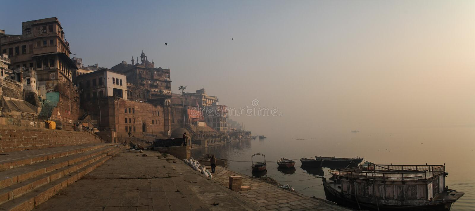 Early morning stroll on the ganga ghats in Varanasi, Uttar Pradesh, India. Varanasi also known as Benares is a city on the banks of the Ganges in the Uttar royalty free stock photography