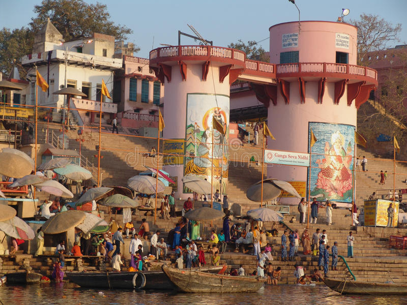 Varanasi a cidade santa, Ganges, India fotos de stock royalty free