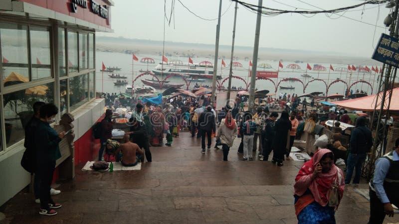 Varanasi Ganga ghat royalty-vrije stock fotografie