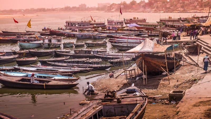 Varanasi - Ganga River Boats, India royalty free stock photo