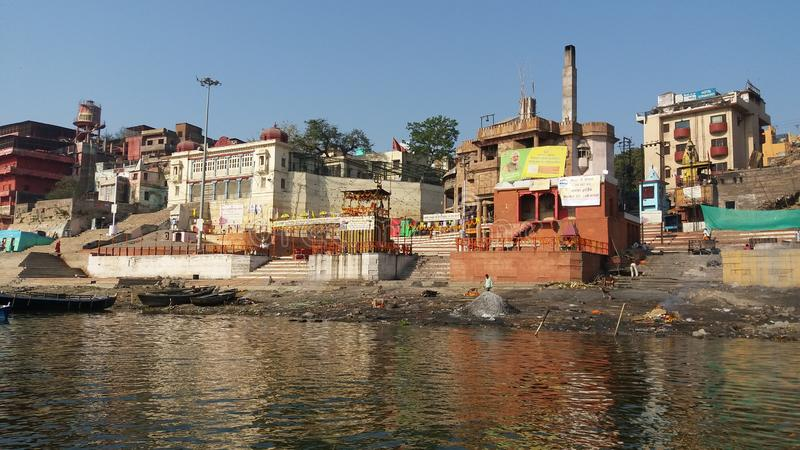 Pilgrim place  River ganga and Varanasi royalty free stock photo