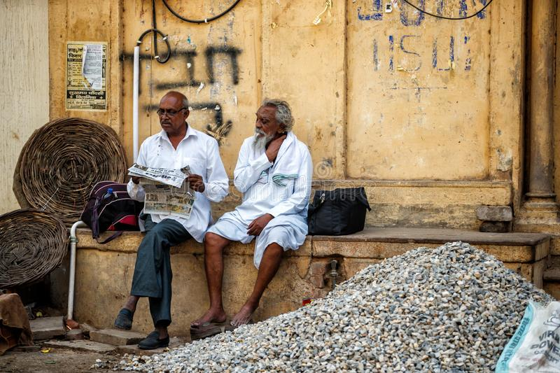 Men in the streets of Varanasi royalty free stock images