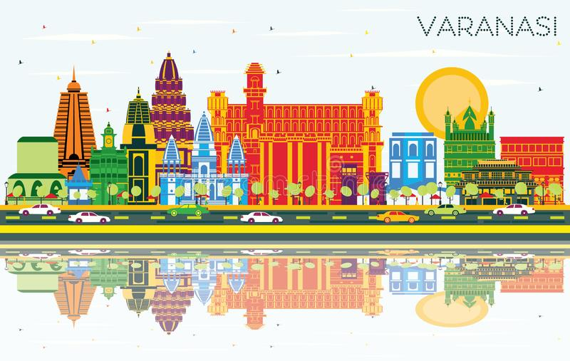 Varanasi India City Skyline with Color Buildings, Blue Sky and R. Eflections. Vector Illustration. Business Travel and Tourism Concept with Historic Architecture royalty free illustration