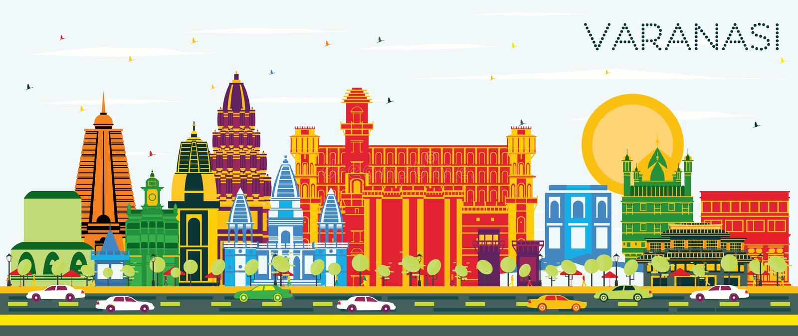 Varanasi India City Skyline with Color Buildings and Blue Sky. Vector Illustration. Business Travel and Tourism Concept with Historic Architecture. Varanasi royalty free illustration