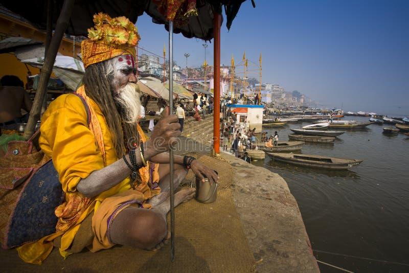 Varanasi. India - Varanasi - The Ganga seen from a holy man royalty free stock photos
