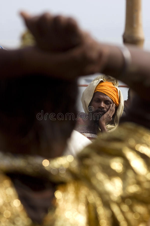Varanasi. India - Varanasi - The Ganga seen from a holy man royalty free stock photo