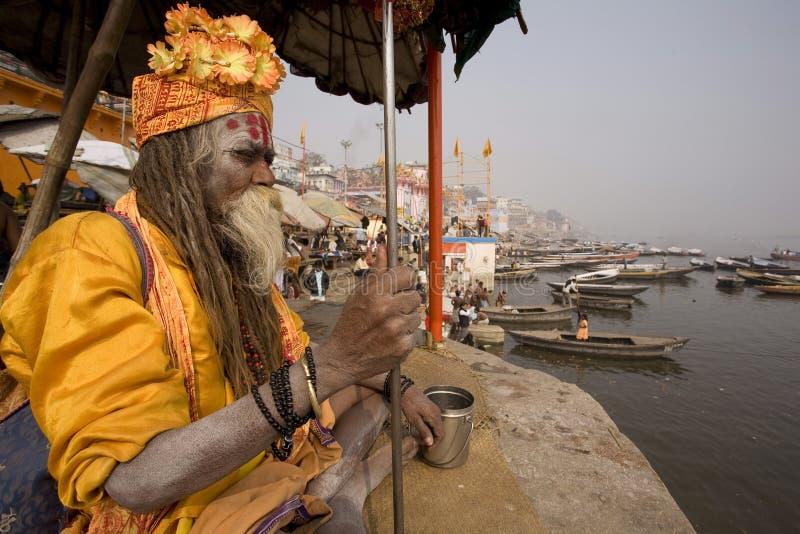 Varanasi. India - Varanasi - The Ganga seen from a holy man royalty free stock image
