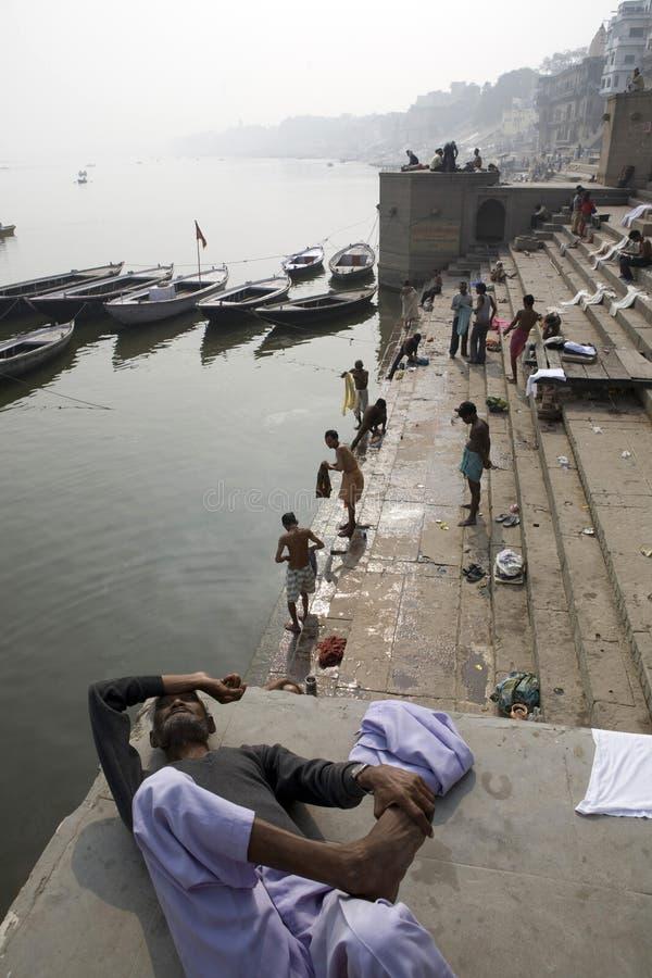 Varanasi. India - Varanasi - Daily life on the ghat near Ganga river royalty free stock photo