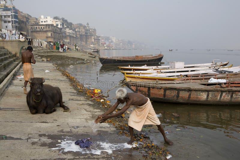Varanasi. India - Varanasi - Daily life on the ghat near Ganga river royalty free stock image