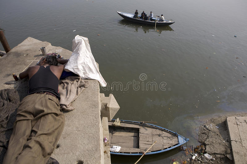 Varanasi. India - Varanasi - Daily life on the ghat near Ganga river royalty free stock photos