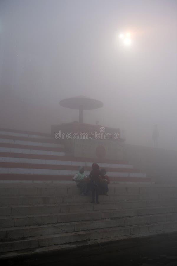 Varanasi. India - Varanasi - Daily life on the ghat near Ganga river stock images