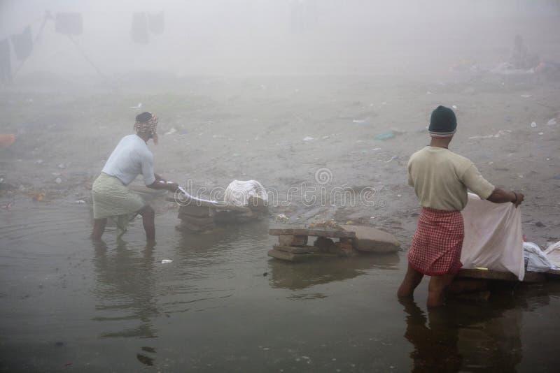 Varanasi. India - Varanasi - Daily life on the ghat near Ganga river stock photography