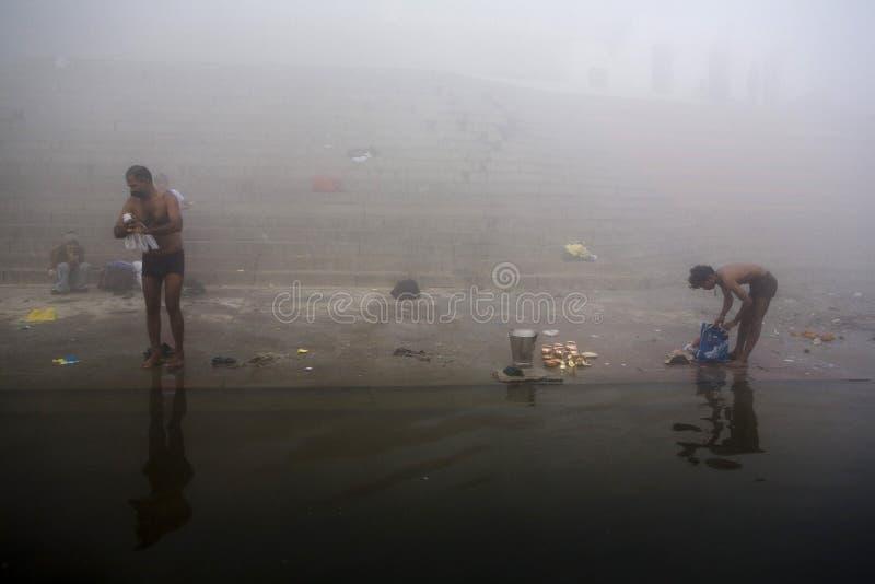 Varanasi. India - Varanasi - Daily life on the ghat near Ganga river royalty free stock photos
