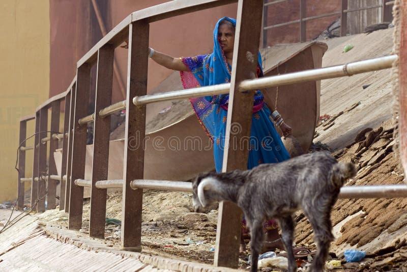 Varanasi. India - Varanasi - Daily life on the ghat near Ganga river royalty free stock images