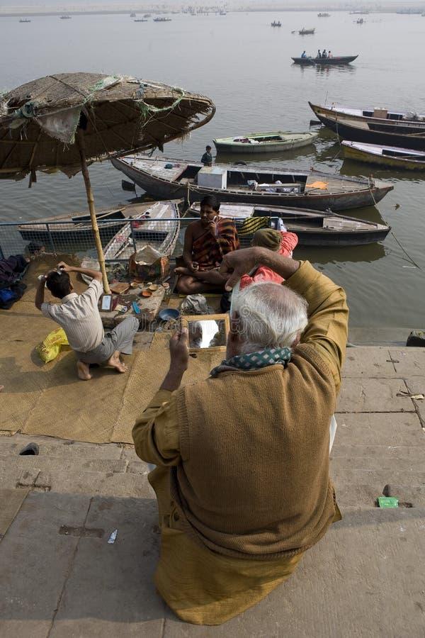 Varanasi. India - Varanasi - Daily life on the ghat near Ganga river stock photo