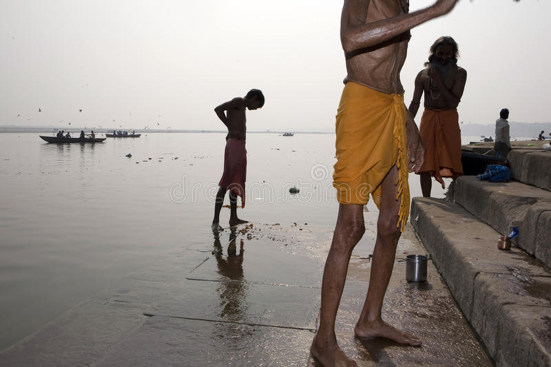 Varanasi. India - Varanasi - The river is sacred and is possible purify the souls with a bath stock photo
