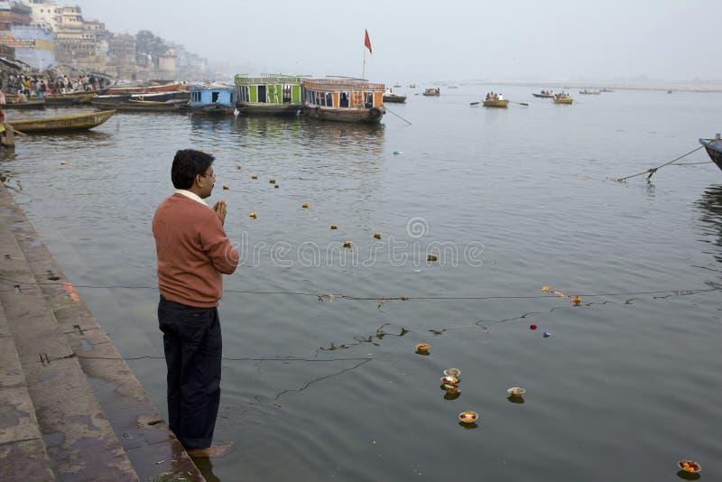Varanasi. India - Varanasi - Tthe morning devotional bath stock images
