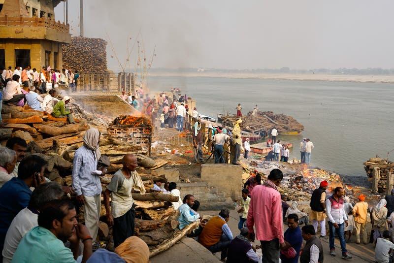 Varanasi/India-07 11 2018: Uświęcony miasteczko Varanasi obraz royalty free