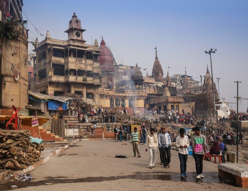 Varanasi morgon på den Ganga floden royaltyfri foto