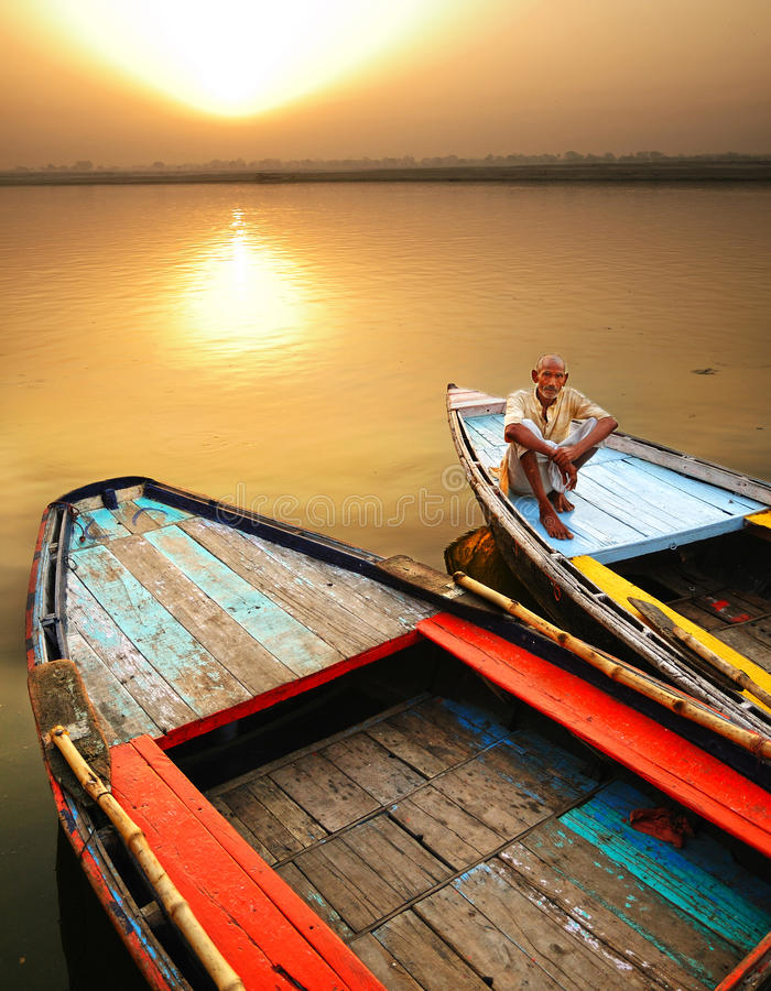 Varanasi-Segler lizenzfreie stockfotos