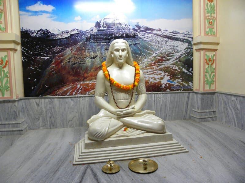 Varanasi, Uttar Pradesh, India - November 1, 2009 White color stone statue of Mahavatar Babaji at Babaji Cave temple, Kashi stock photography