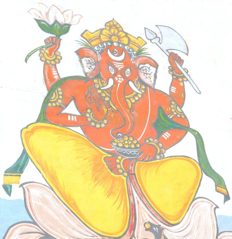 Varanasi, Uttar Pradesh, la India - 1 de noviembre de 2009 mural colorido de Lord Ganesha imagen de archivo