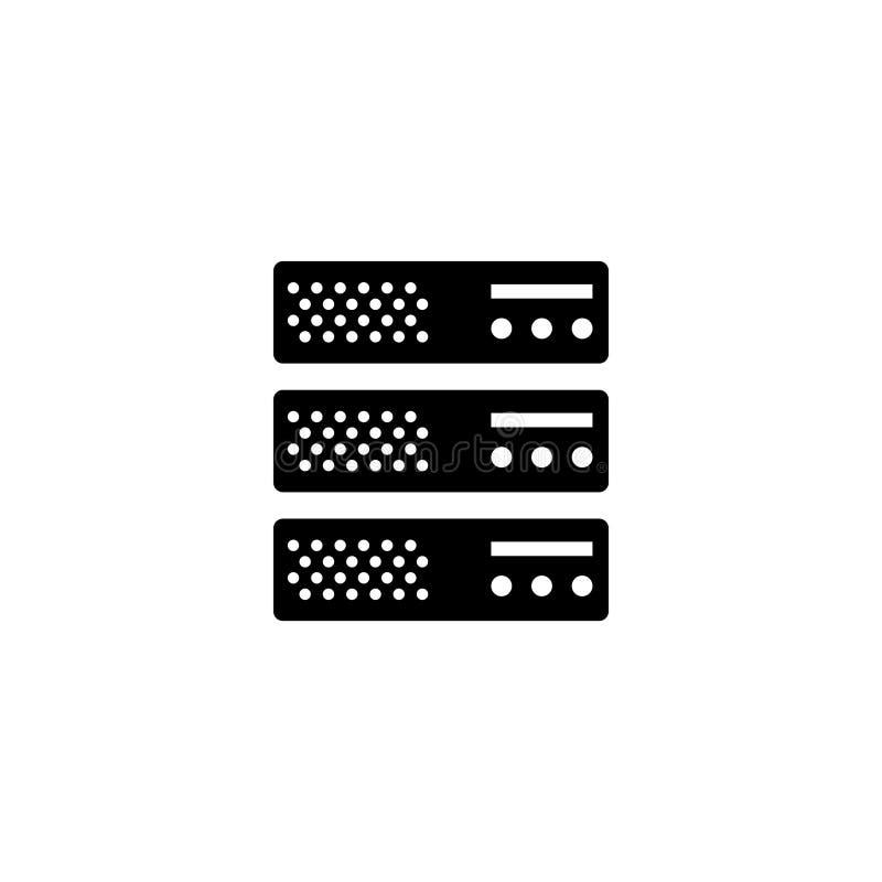 Varande värd server, Data Center, symbol för vektor för rengöringsduklagring plan stock illustrationer