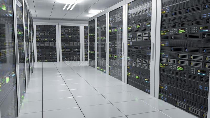 Varande värd service Serveror i datacenter framförd illustration 3d stock illustrationer