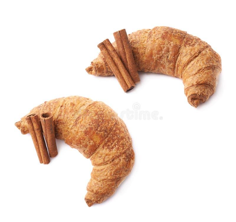 Varas da pastelaria e de canela do croissant fotos de stock
