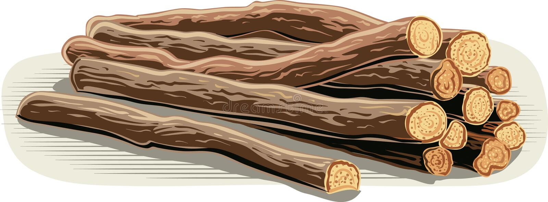 Varas da raiz de alcaçuz no fundo branco ilustração do vetor