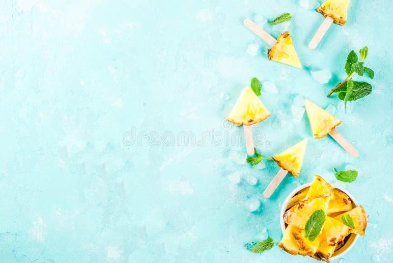 Varas do picolé do abacaxi foto de stock