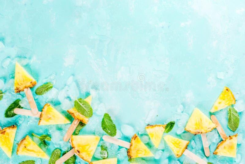 Varas do picolé do abacaxi foto de stock royalty free