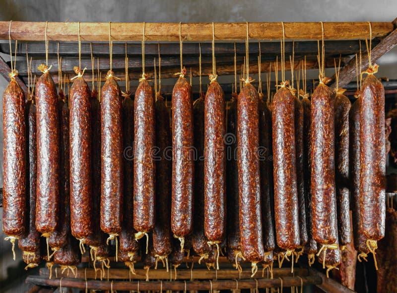 Varas salame ou salsichas fotografia de stock