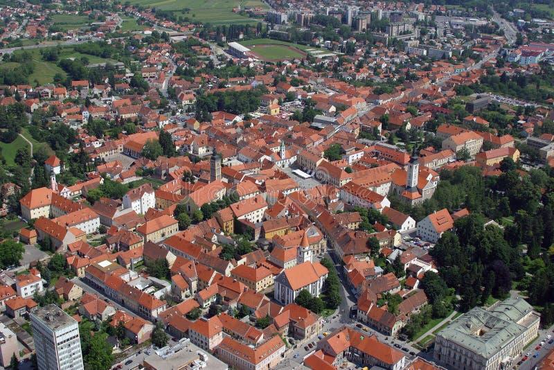 Varazdin, Croatia. Aerial view of Varazdin, city in northwestern Croatia stock images