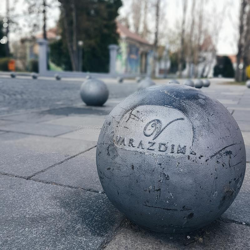Varazdin famous balls on the ground royalty free stock photo