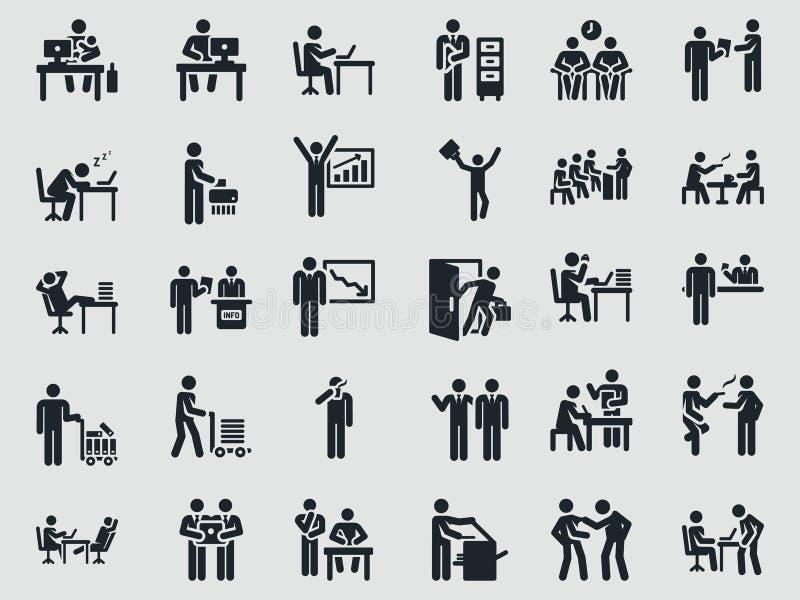 Vardagkontorsarbetare PINNEDIAGRAM stock illustrationer
