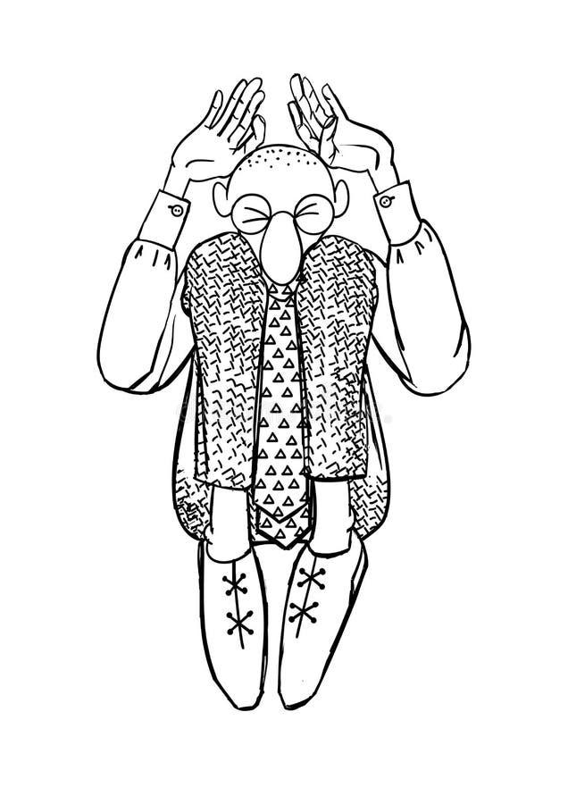 Vardagsliv av en kontorsarbetare Skissa kontoristen f?r illustrationorange f?r bakgrund ljust materiel royaltyfri illustrationer